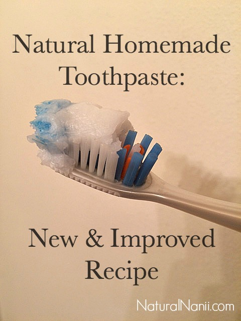 New and improved Natural homemade toothpaste on toothbrush